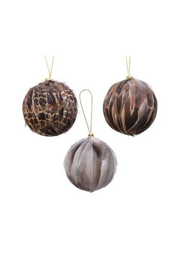 Decoris Set/3 kerstballen met veren dia 6cm, met hanger