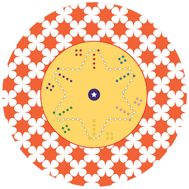 Game cloth Dice, 170 x 170 cm, 6 personen, round
