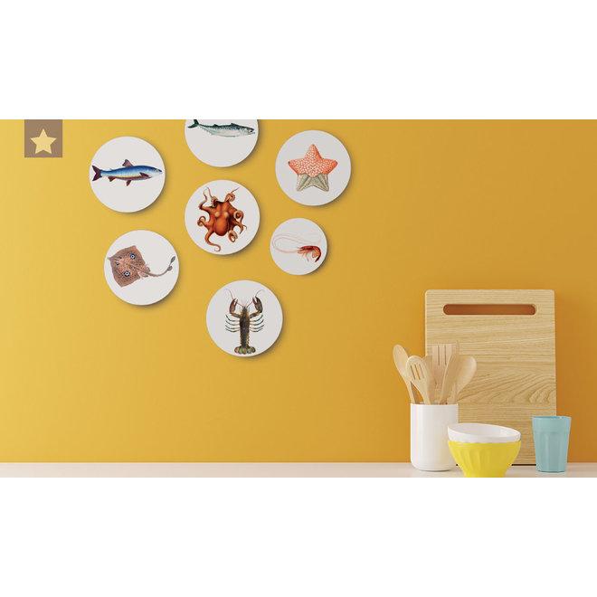 Shrimp   dibond wall plate 10x10cm