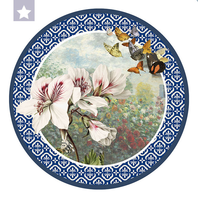 Muurcirkel Azalea met vlinders en tuin van Monet