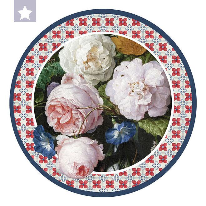 Muurcirkel Stilleven met bloemen door Jan Davidsz. de Heem