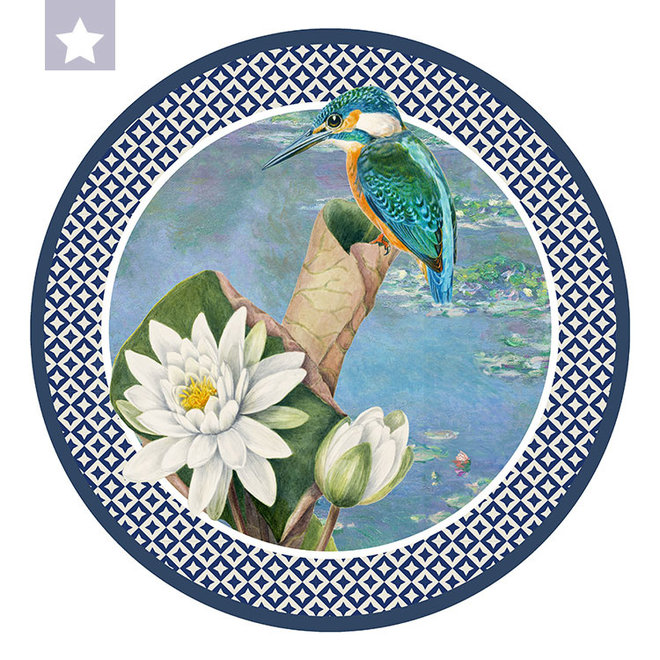 Muurcirkel IJsvogel met waterlelie van Monet