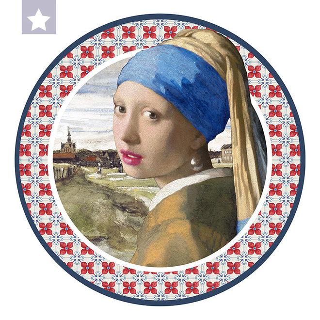 Muurcirkel Meisje met de Parel met Van Gogh