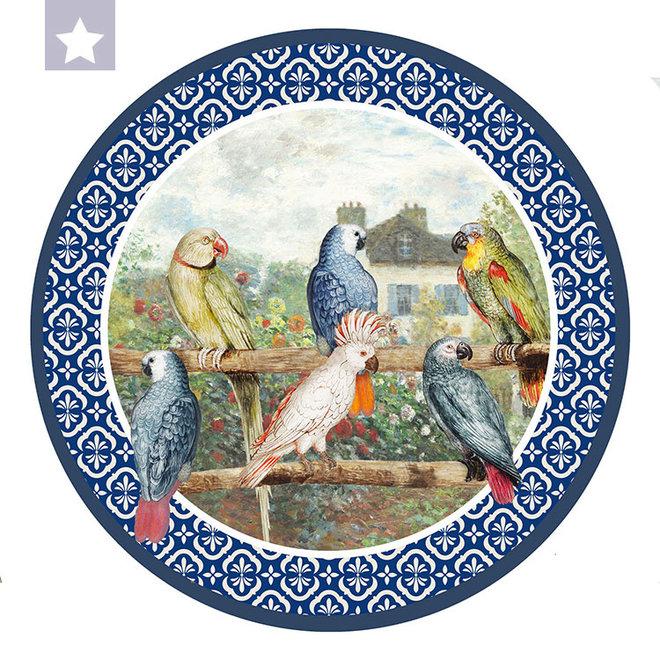 Muurcirkel Papagaaien met Monet