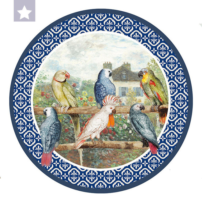 Wall circle  parrots with Monet