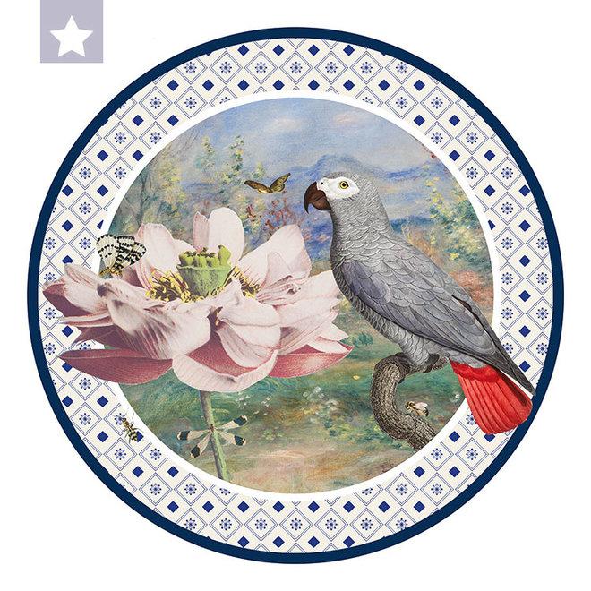 Wall circle  parrot with Ogawa, Renoir en Jan van Kessel