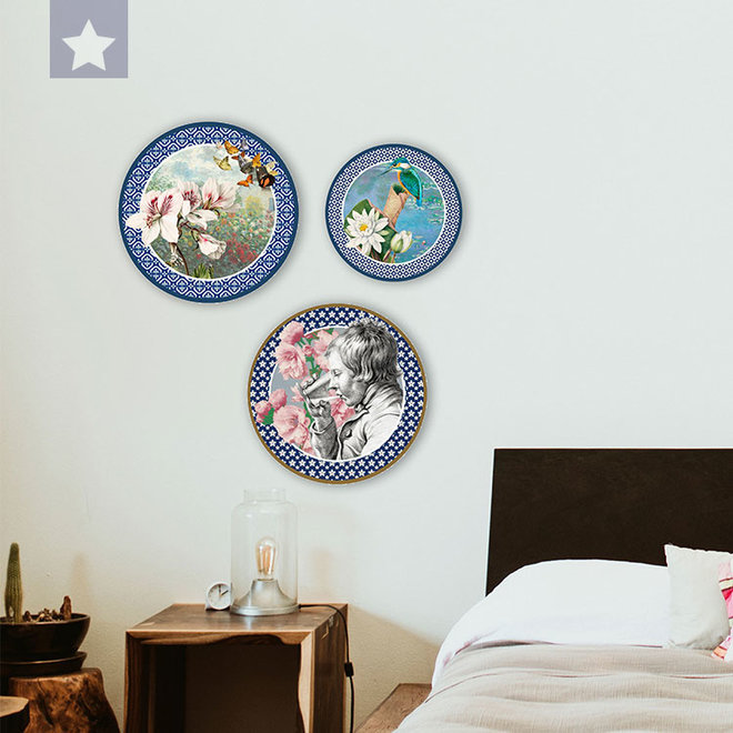 Wall circle Flamingo with Jungle Orchids and Hummingbird