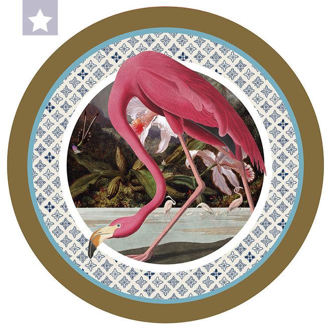 Muurcirkel Flamingo met Jungle Orchideeën en kolibrie