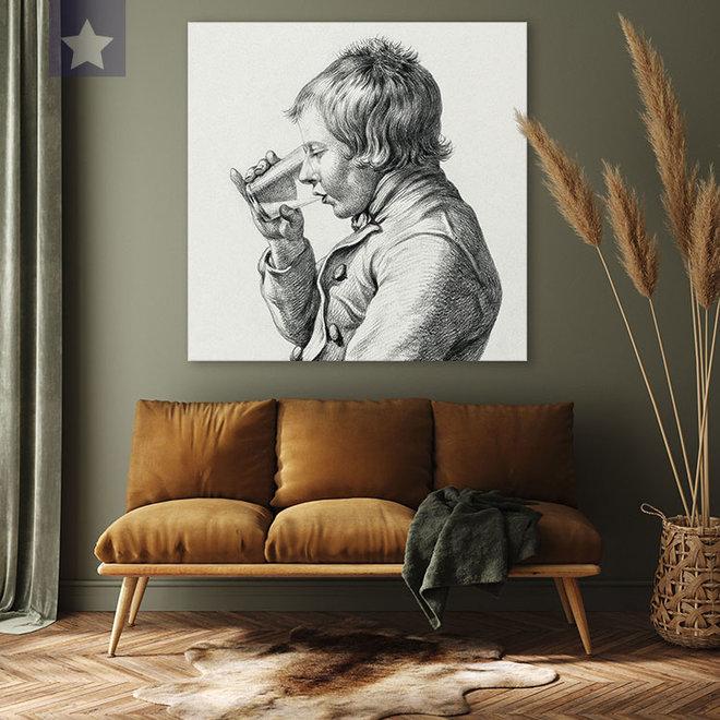 Canvas jongen met het glas