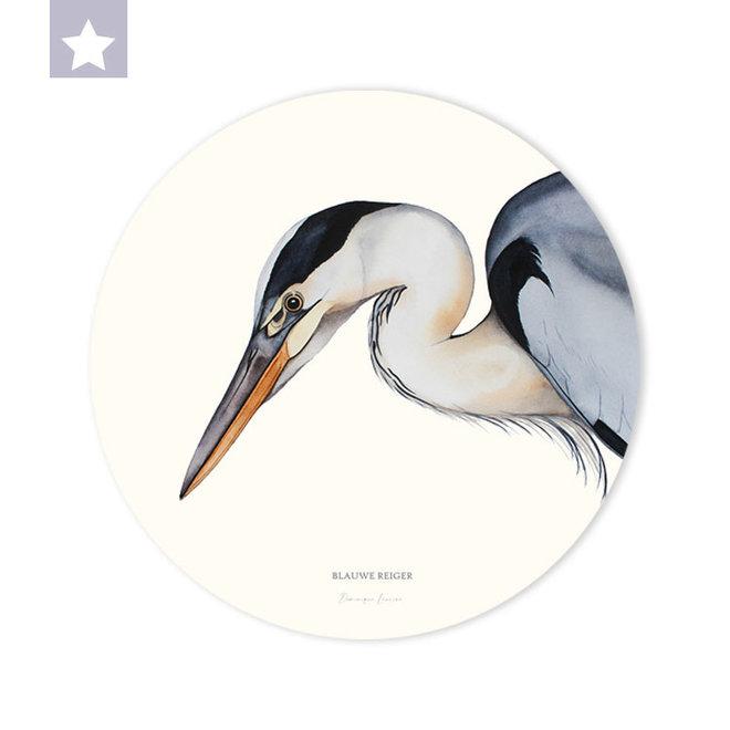 Wall circle Blue Heron/ Ø 30cm