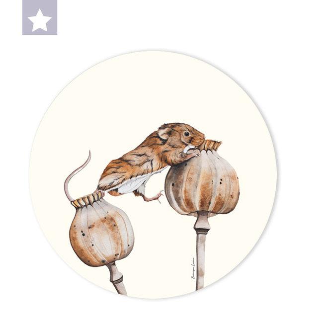 Muurcirkel Dwergmuis op klaproosbollen / Ø 30cm