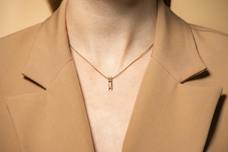 Geelgouden ketting met diamanten - Princess-2