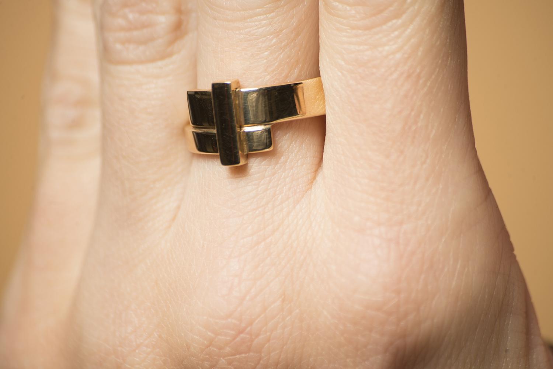 Geelgouden ring breed - Mondria-2
