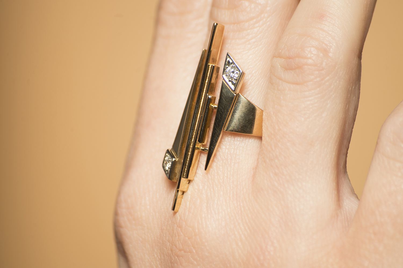 Geelgouden ring met diamant - Pastille Fragile-2