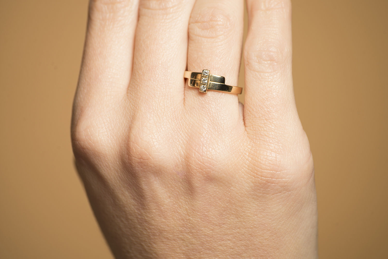 Geelgouden ring met 5 diamanten - Mondria-2