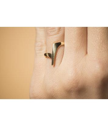 14 karaat geelgouden ring dames - Zwever - Klein -  Geelgoud