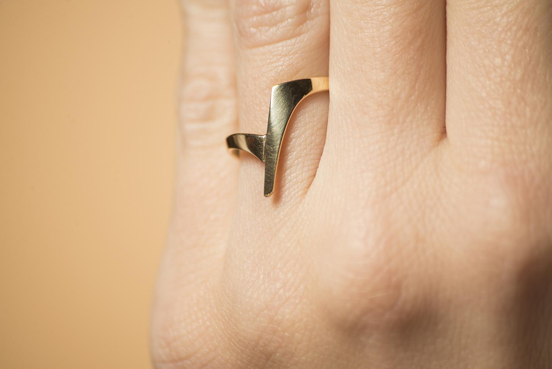 Gouden ring dames - Zwever - Klein -  Geelgoud-1