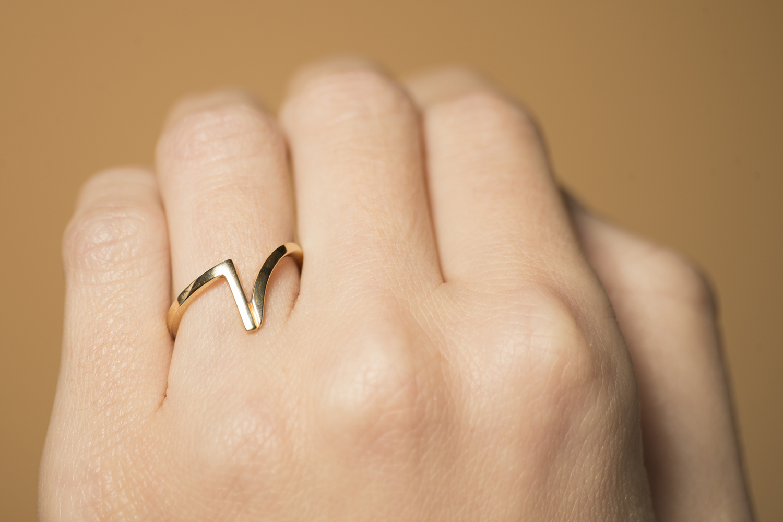 Gouden ring dames - Trio - Slim-1
