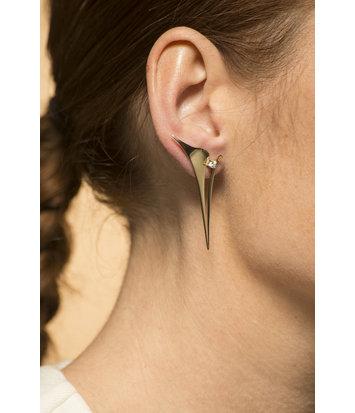 14 karaat geelgouden oorsteker - Whisper - Diamant - Lang - Geelgoud