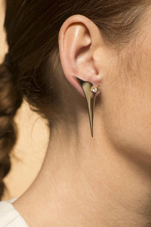 Gouden oorsteker - Whisper - Diamant - Lang - Geelgoud-1
