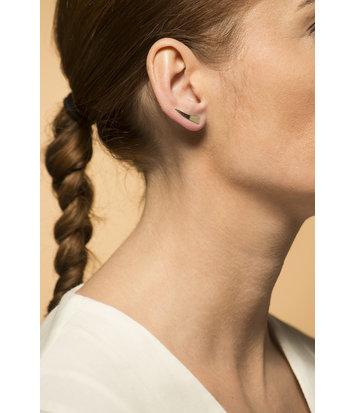 14 karaat geelgouden dames oorsteker - Wave - gepolijst