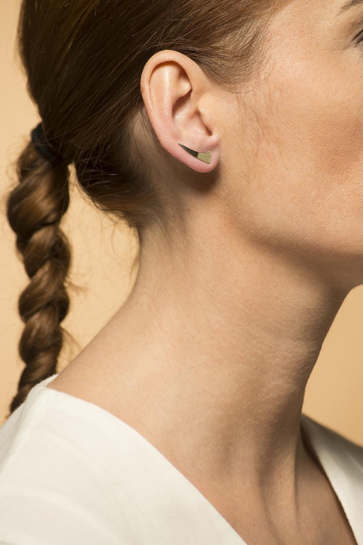 14 karaat geelgouden dames oorsteker - Wave - gepolijst-1