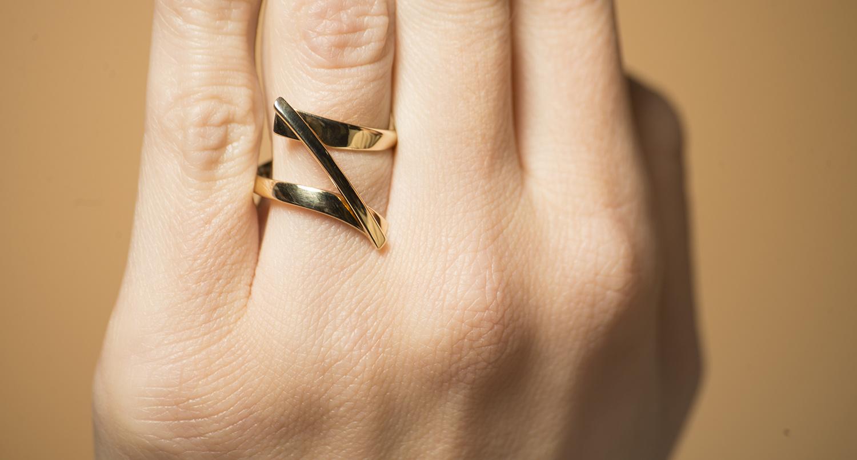Geelgouden ring Swirll - Smedy-2