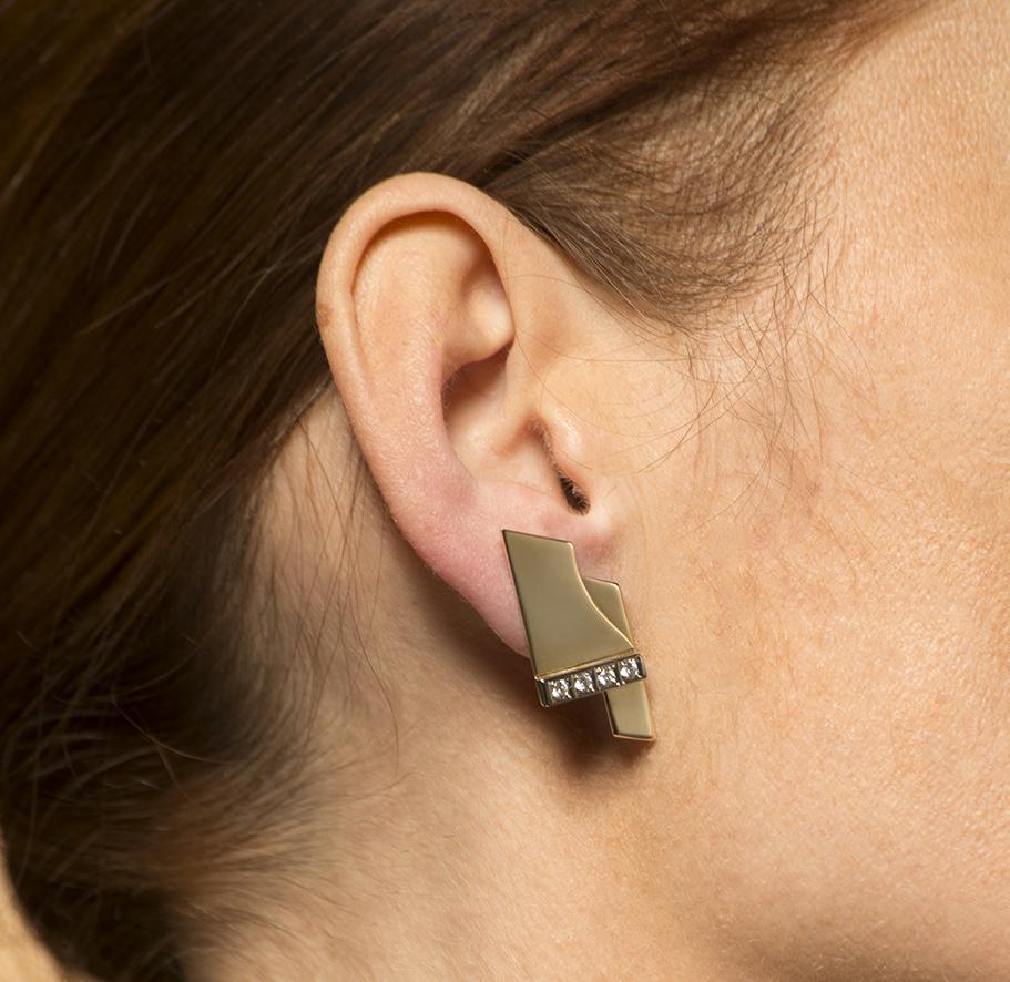 Geelgouden oorstekers met diamanten - Mondria-2