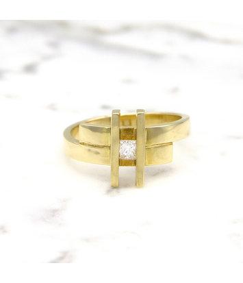14 karaat geelgouden ring small- Princess
