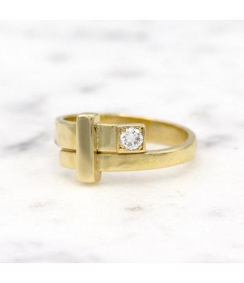 14 karaat geelgouden ring dames met diamant - Mondria