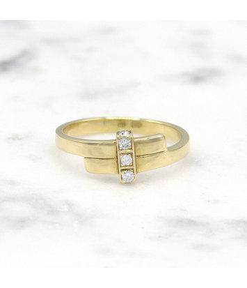 Geelgouden ring met 5 diamanten - Mondria