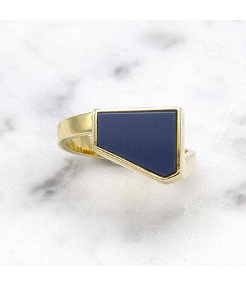 14 karaat geelgouden zegelring met blauwe lagensteen - Straight