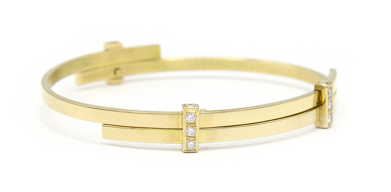 Geelgouden armband met diamanten - Mondria-5