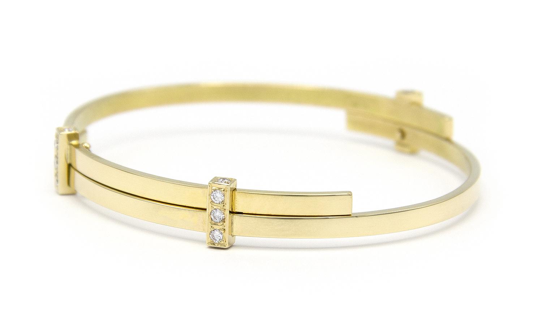 Geelgouden armband met diamanten - Mondria-6
