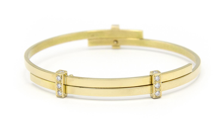 Geelgouden armband met diamanten - Mondria-4