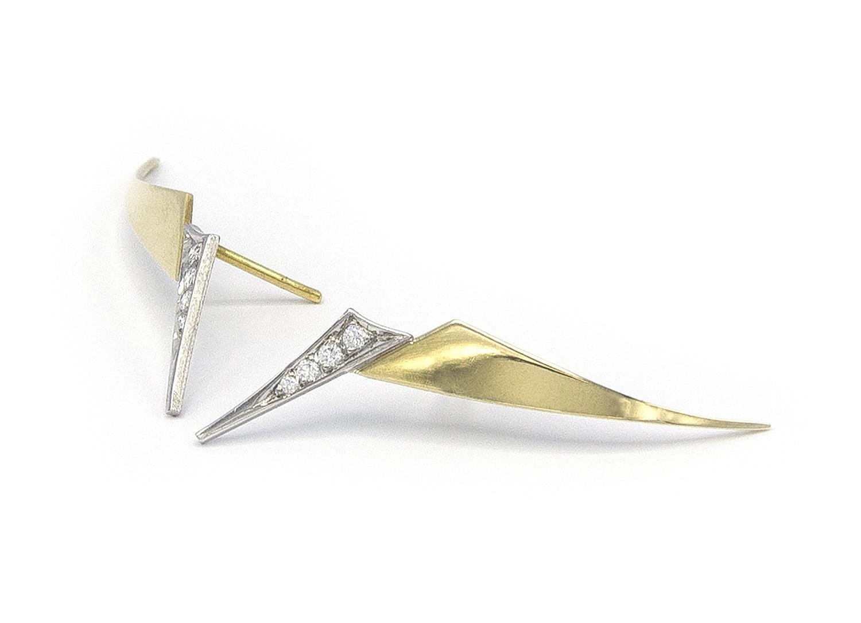 Geelgouden oorstekers met diamanten - Trio-5