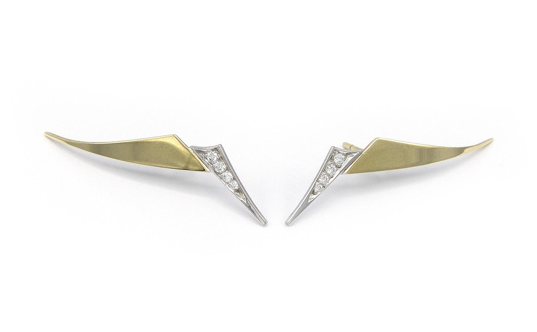 Geelgouden oorstekers met diamanten - Trio-4