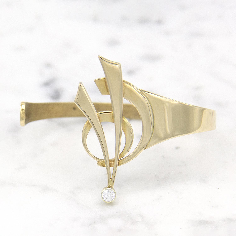 14 karaat geelgouden armband met diamant - Around-1