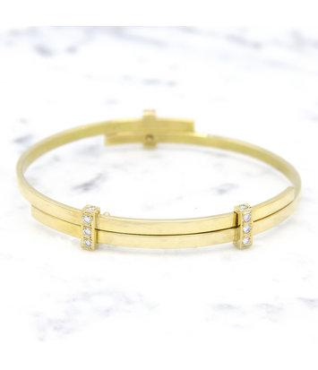 14 karaat geelgouden armband met diamanten - Mondria
