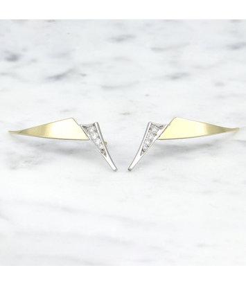 Geelgouden oorstekers met diamanten - Trio