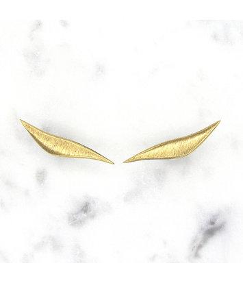 14 karaat geelgouden oorstekers gematteerd -  Wave