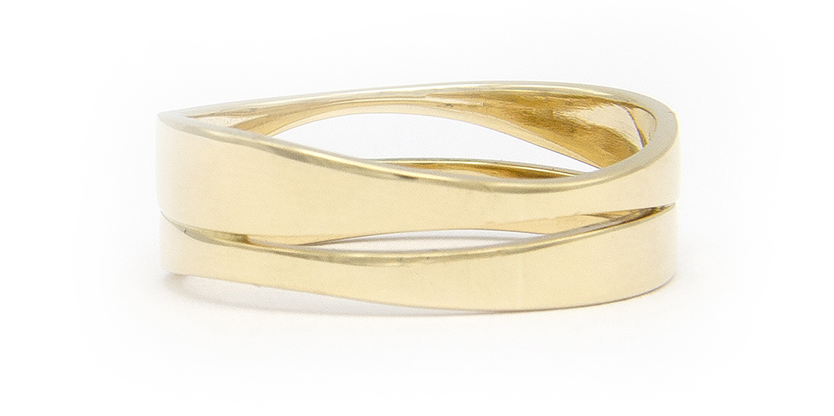 Geelgouden ring duo - Wave-3