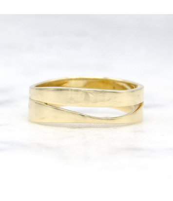 Geelgouden ring duo - Wave