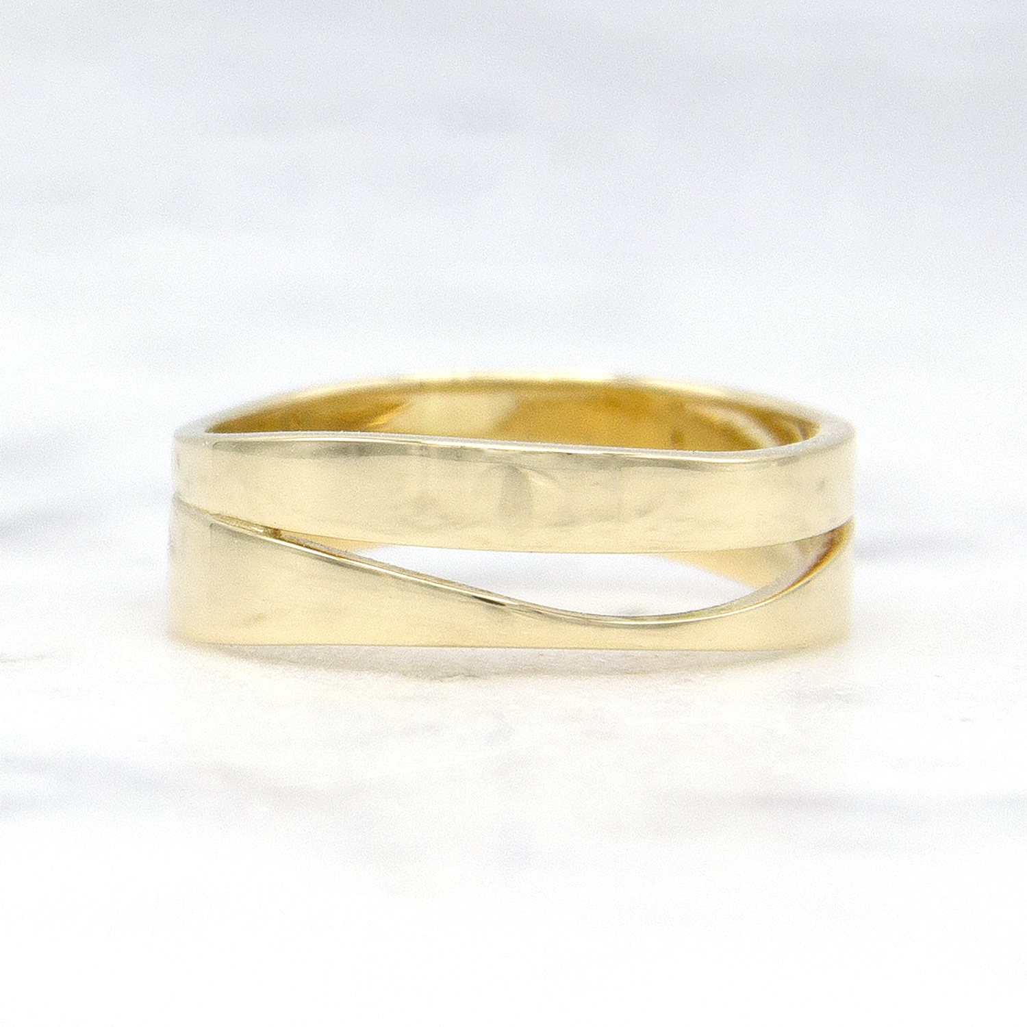 Geelgouden ring duo - Wave-1