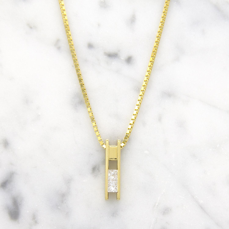 Geelgouden ketting met diamanten - Princess-1