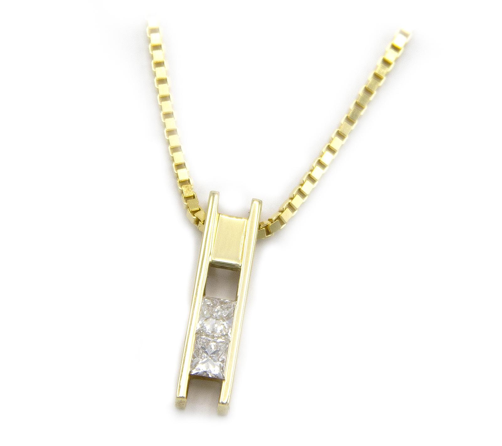 Geelgouden ketting met diamanten - Princess-3