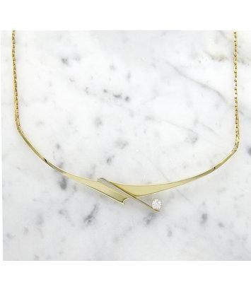 14 karaat geelgouden ketting met diamant - Crossbow