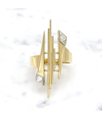 14 karaat geelgouden ring met diamant - Pastille Fragile
