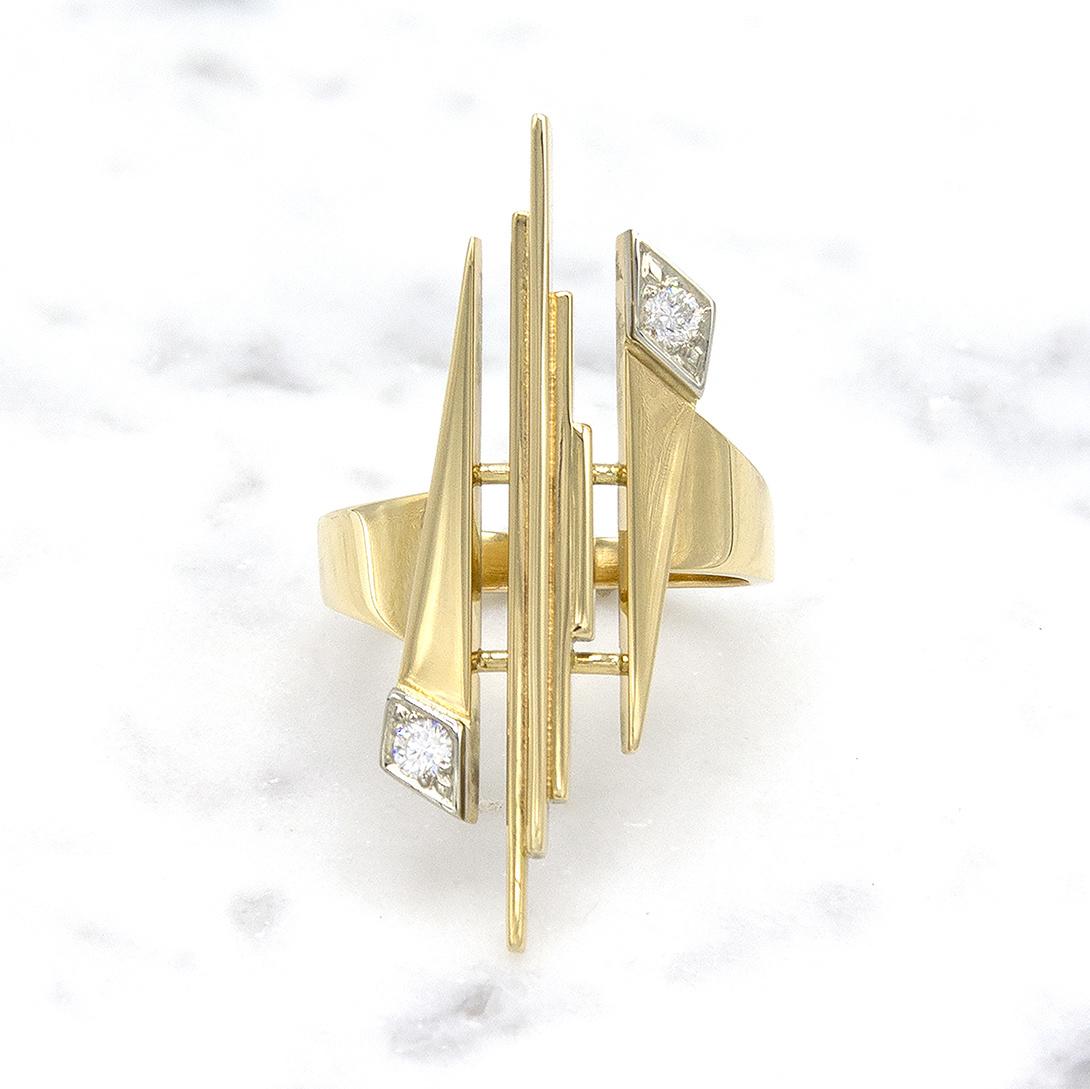 Geelgouden ring met diamant - Pastille Fragile-1