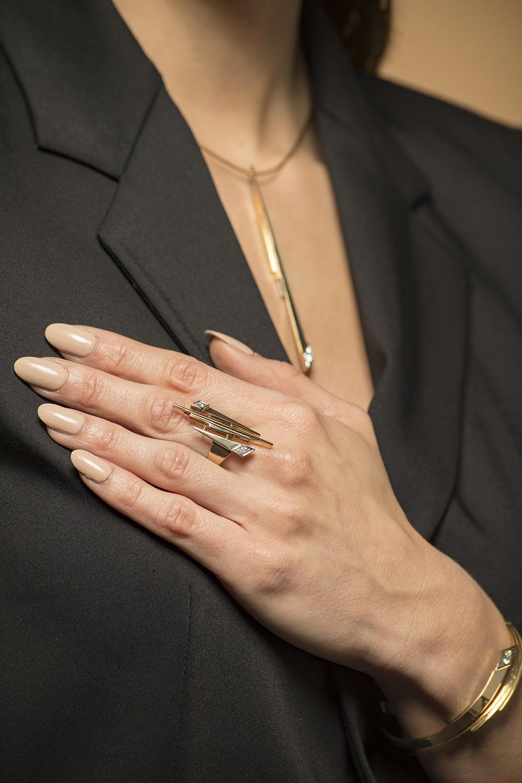 Geelgouden ketting met diamant - Pastille Fragile-2
